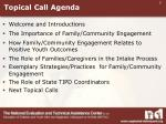 topical call agenda