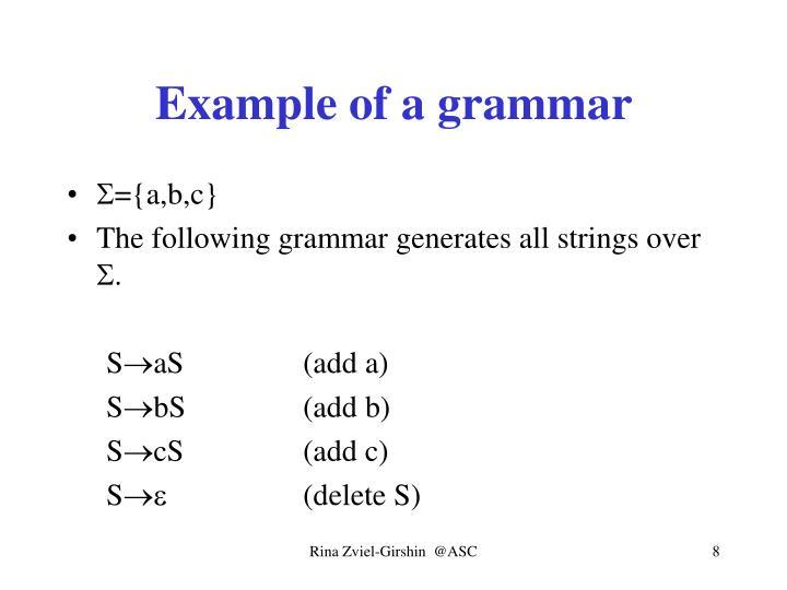 Example of a grammar