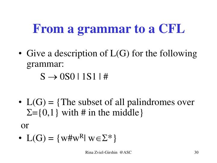 From a grammar to a CFL