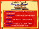 grade 2 theme 3 dinosaurs travel vocabulary review