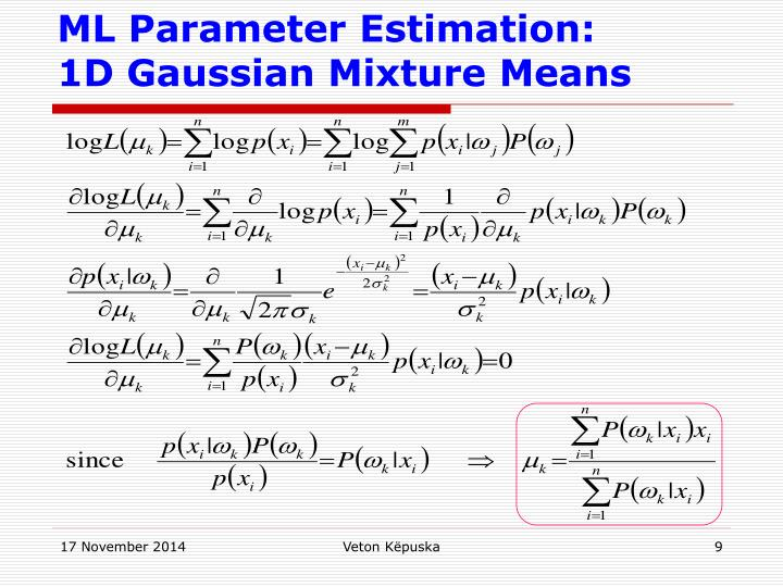 ML Parameter Estimation:
