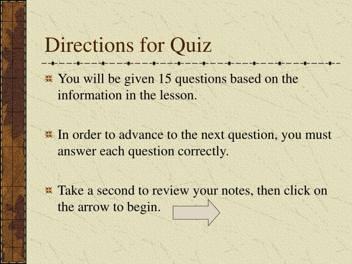 Directions for Quiz