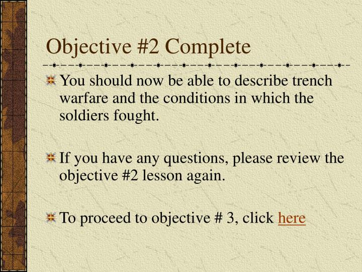 Objective #2 Complete