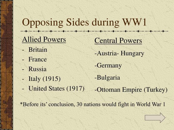 Opposing Sides during WW1