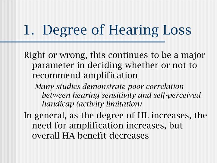 1.  Degree of Hearing Loss