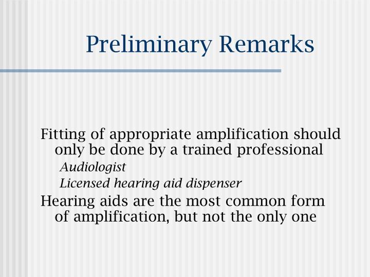 Preliminary remarks1