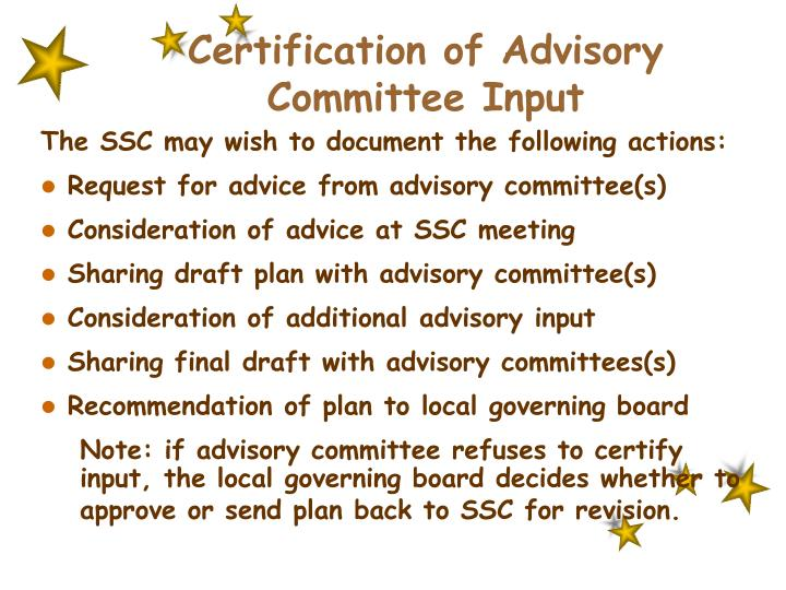 Certification of Advisory Committee Input