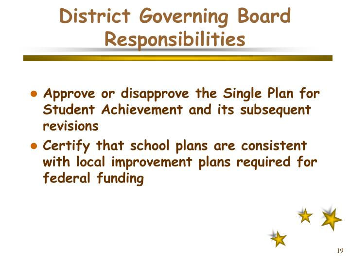 District Governing Board Responsibilities