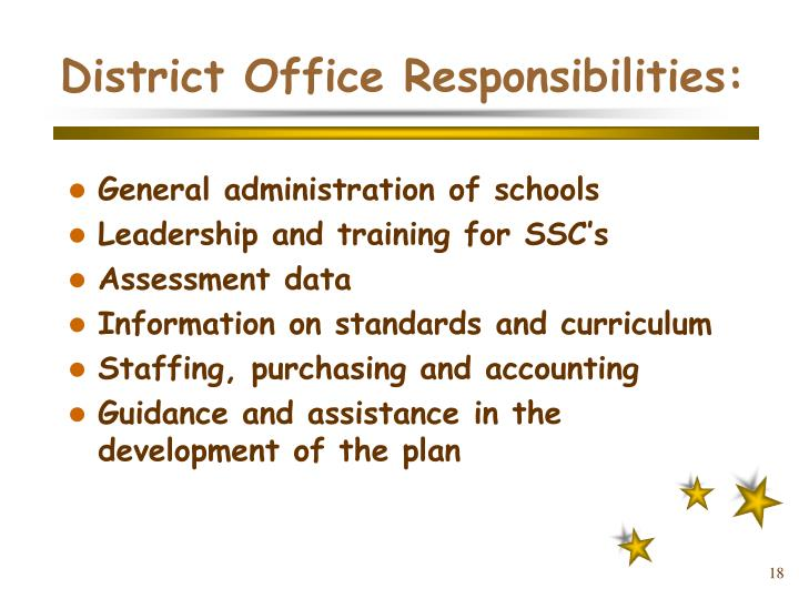 District Office Responsibilities: