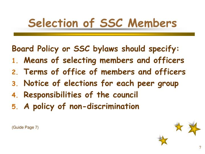 Selection of SSC Members