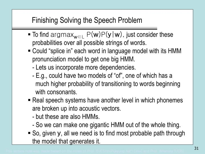 Finishing Solving the Speech Problem