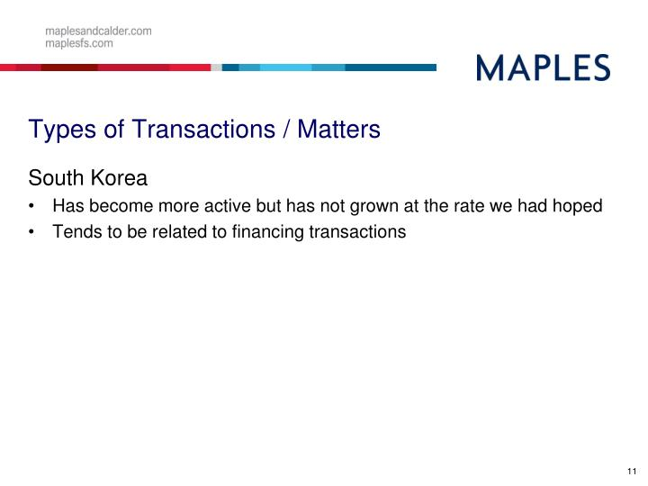 Types of Transactions / Matters