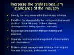 increase the professionalism standards of the industry