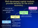 well developed capital markets provide benefits for the entire economy