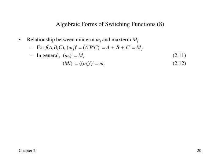 Algebraic Forms of Switching Functions (8)