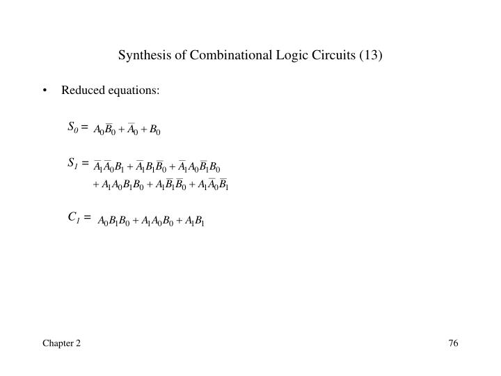 Synthesis of Combinational Logic Circuits (13)