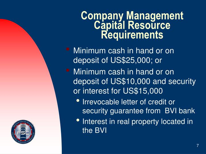 Company Management Capital Resource Requirements