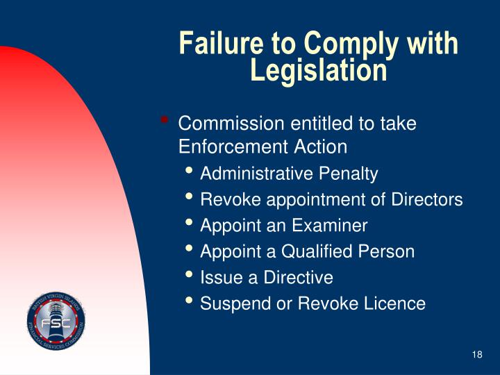Failure to Comply with Legislation