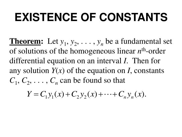 EXISTENCE OF CONSTANTS