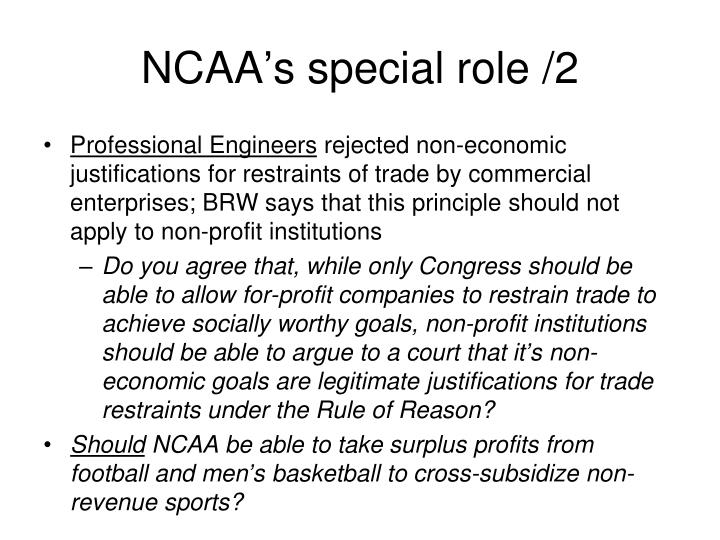 NCAA's special role /2