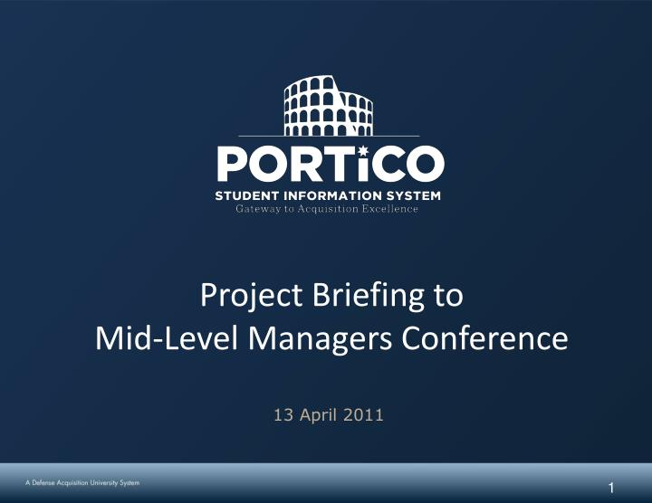 project briefing to mid level managers conference n.