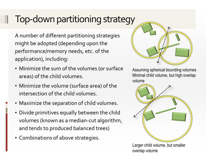 Top-down partitioning strategy