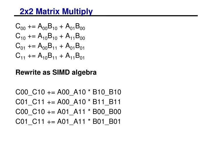 2x2 matrix multiply