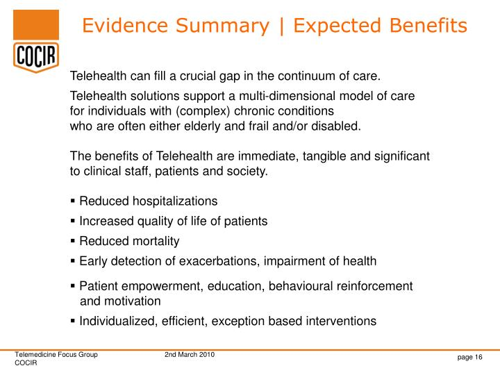 Evidence Summary | Expected Benefits