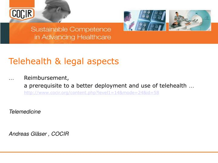 Telehealth legal aspects