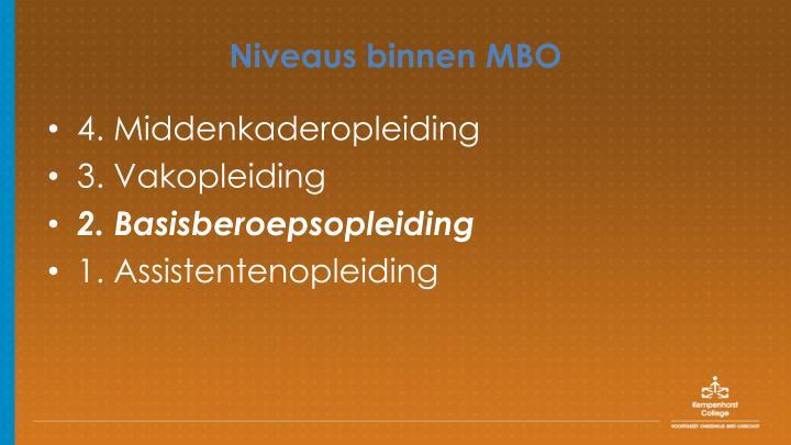 Niveaus binnen MBO