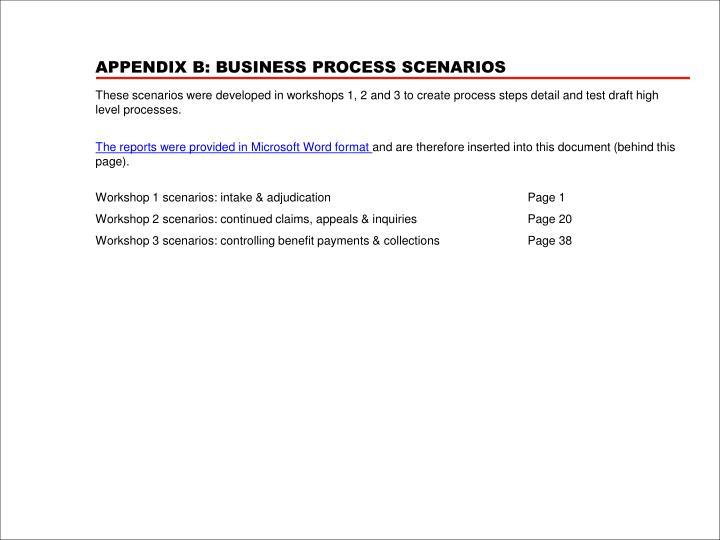 APPENDIX B: BUSINESS PROCESS SCENARIOS