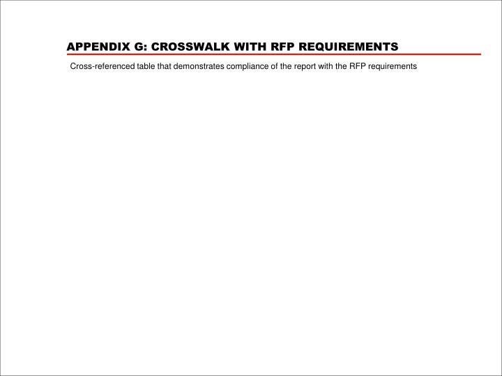 APPENDIX G: CROSSWALK WITH RFP REQUIREMENTS