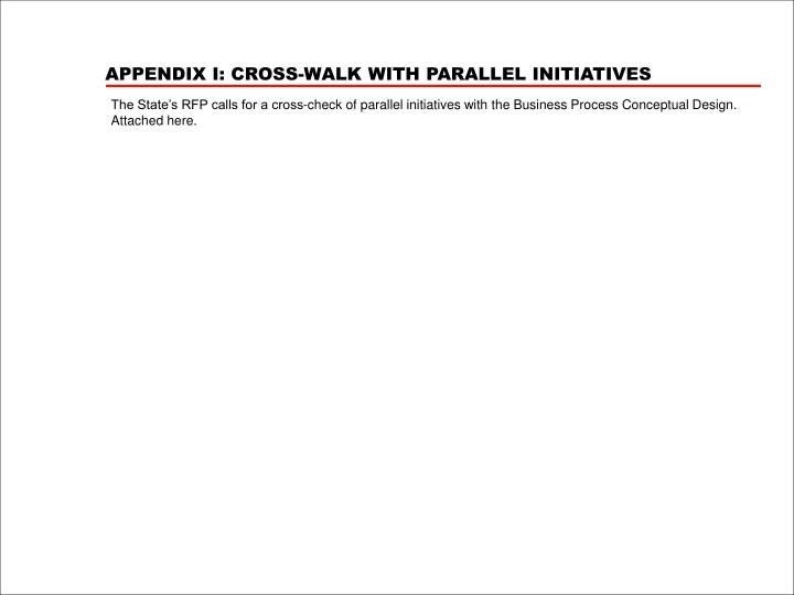 APPENDIX I: CROSS-WALK WITH PARALLEL INITIATIVES