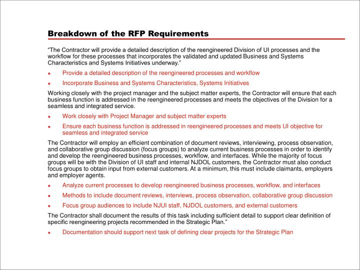 Breakdown of the RFP Requirements