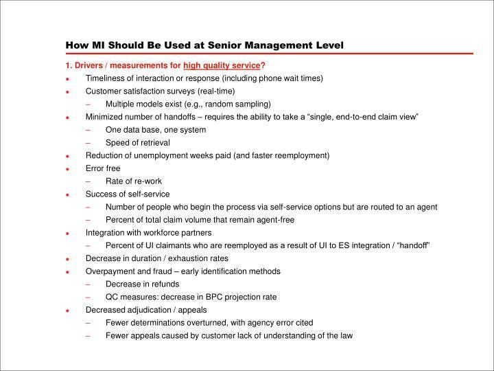 How MI Should Be Used at Senior Management Level