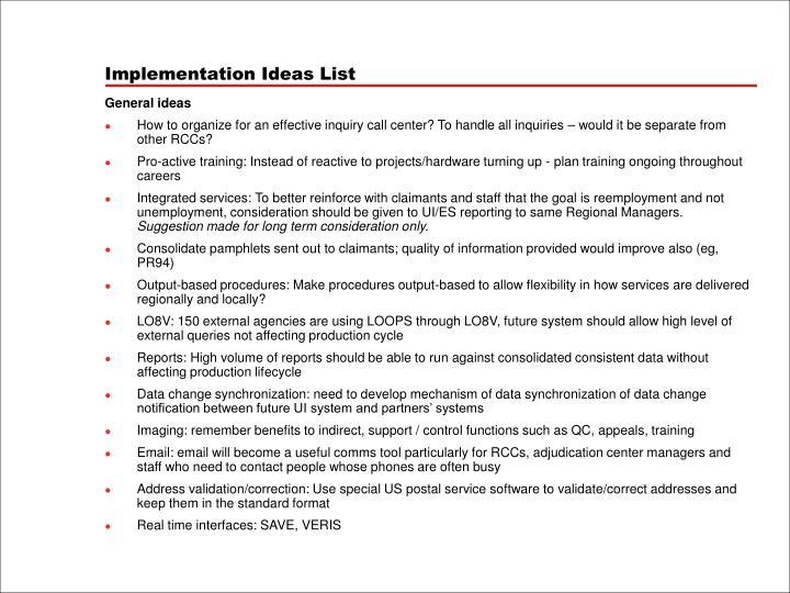 Implementation Ideas List