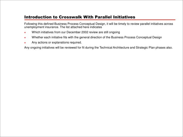 Introduction to Crosswalk With Parallel Initiatives