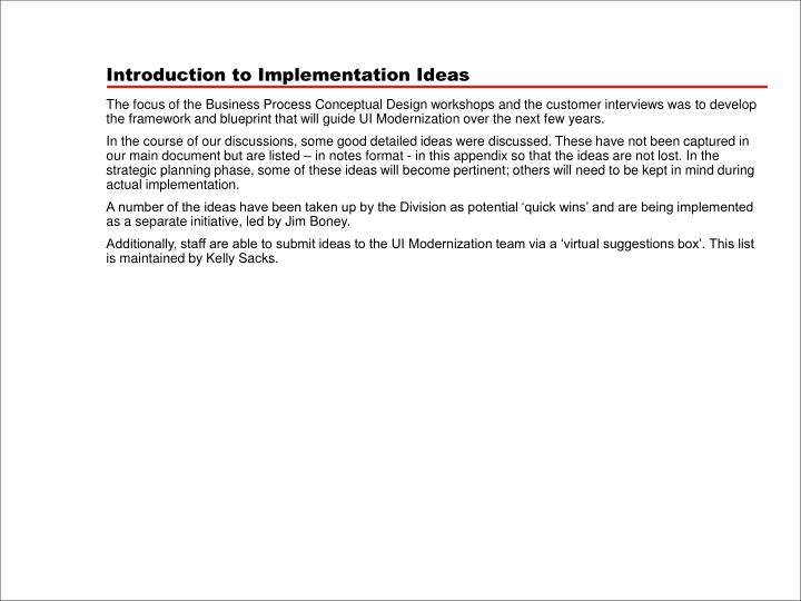 Introduction to Implementation Ideas