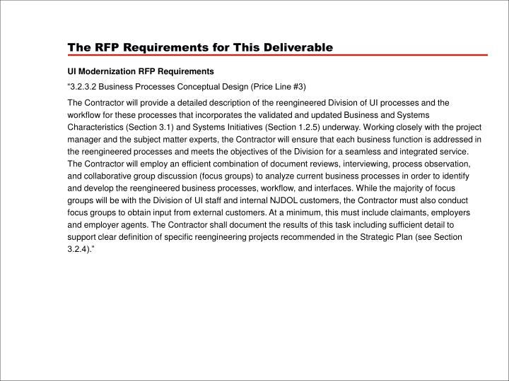 The RFP Requirements for This Deliverable