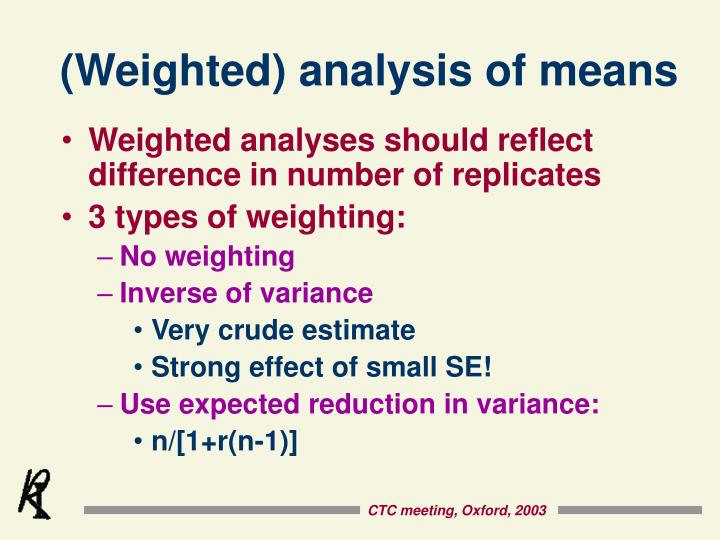 (Weighted) analysis of means