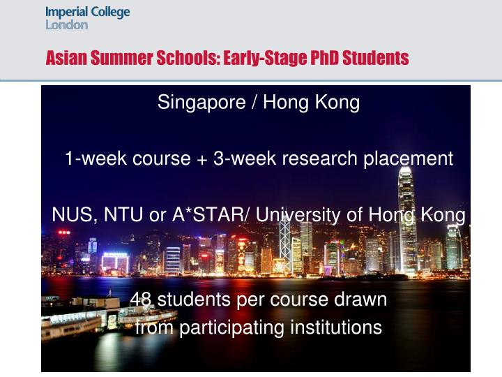 Asian Summer Schools: Early-Stage PhD Students
