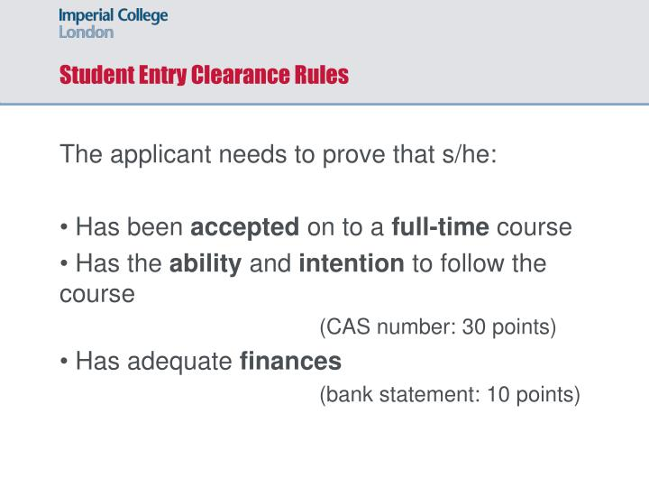Student Entry Clearance Rules