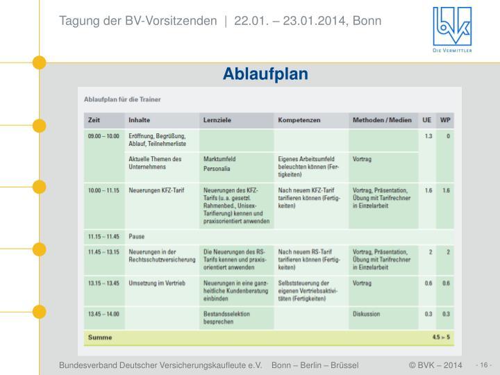 Tagung der BV-Vorsitzenden  |  22.01. – 23.01.2014, Bonn