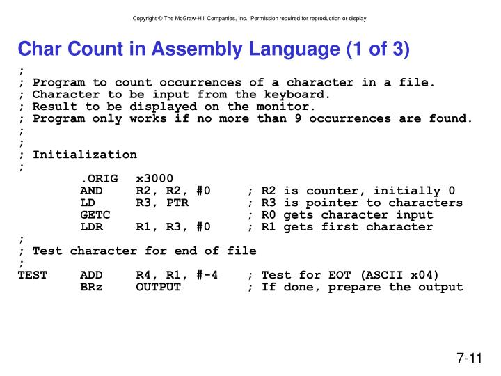 Char Count in Assembly Language (1 of 3)