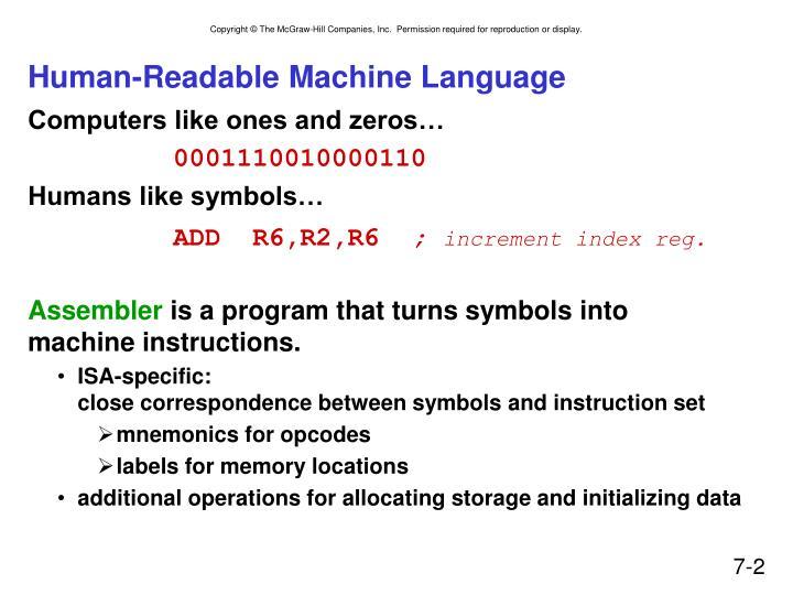 Human readable machine language