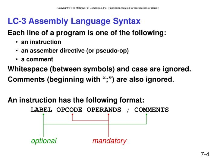 LC-3 Assembly Language Syntax