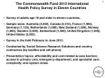 the commonwealth fund 2013 international health policy survey in eleven countries1