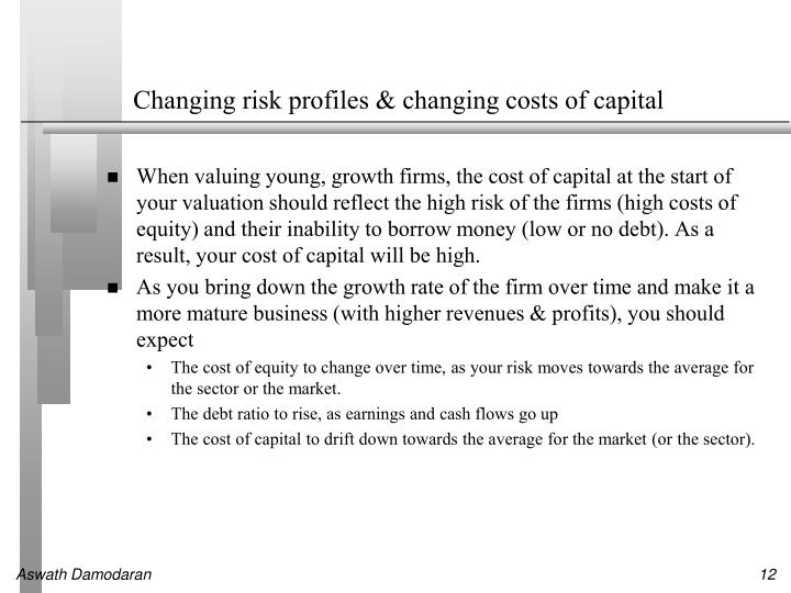 Changing risk profiles & changing costs of capital