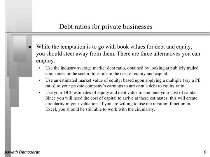 Debt ratios for private businesses