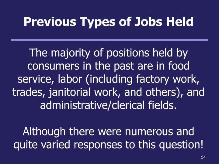 Previous Types of Jobs Held